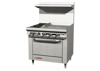 2 Open Burners, 24″ Griddle, Cabinet Base S36C-2G/T