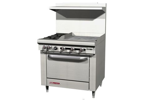 2 Open Burners, 24″ Griddle, Standard Oven S36D-2G/T
